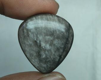 Fabulous Silver obsidian pear shape cabachone loose gemstone 28.75cts 27x24x4mm