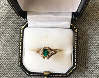 Dark Green Stone with Crystals Ring // Gift for Her