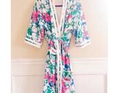 Vintage Floral Bath Robe | Hawaiian Print Terry Bath Robe