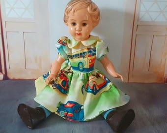 Vintage doll, Dressed vintage doll, Old doll, Celluloid doll, OK Kader doll, 1940s doll, 1950s doll, Retro doll, Cute doll, Christmas gift