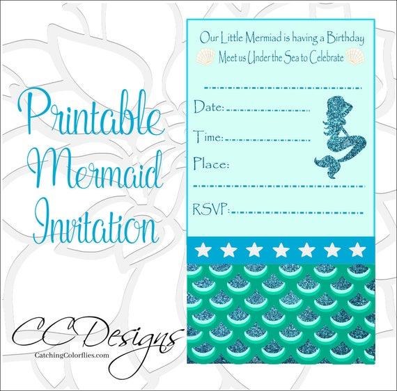 Sassy image inside printable mermaid invitations