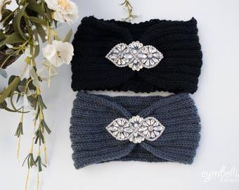 Rhinestone Knit Headband, Embellished Ear Warmers, Christmas gift, crochet headband, headwrap with rhinestone applique, winter headband