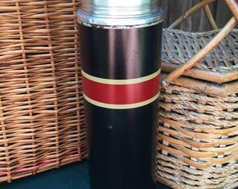Vintage Thermos - Tall Black, Red and Gold Striped Thermos - Thermos Brand Thermos with Original Cork - Model B7Q