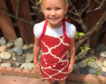 Kid Apron/ Red pattern