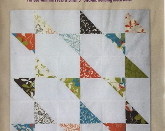 Block 11 - Press & Stitch Building Blocks - Easy quilt uses charm packs or layer cakes - multiple sizes
