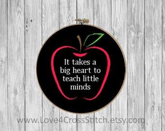 Teacher Cross Stitch Pattern Modern, Thank you Cross Stitch, School Cross Stitch, Apple Cross Stitch, School Gift Cross Stitch, Teacher Gift