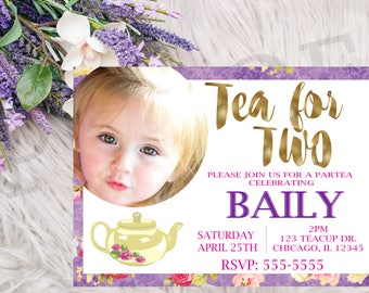 Tea for Two birthday invitation