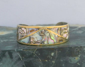 Hecho En Mexico Goldtone Vintage Cuff Bracelet Abalone Shell Inlays G31
