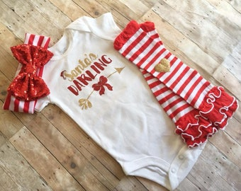 Santa Outfit for Baby, Girls Christmas Outfit, Santa's Darling, Newborn Christmas Outfit, Baby Girl Holiday Bodysuit, December Baby Outfit