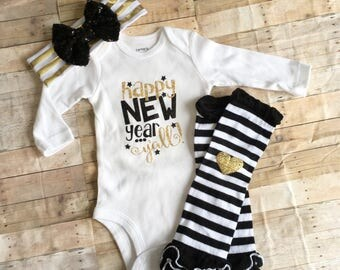 New Years Eve baby Outfit, Happy New Year Yall, Newborn NYE Bodysuit, Baby Girl Holiday Bodysuit Leg Warmer Outfit, Baby Southern Belle Set