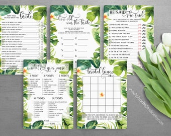 Bridal shower games bundle - Tropical bridal shower games package - Printable bridal shower games - bridal shower activities hen do AS-TR125