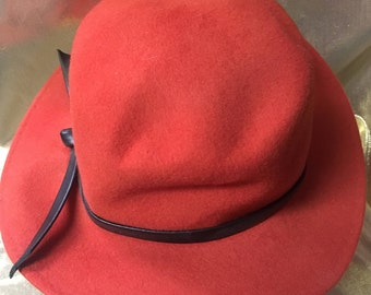 1960's Orange/Red Wool Fedora Style Hat by The Ritz of New York