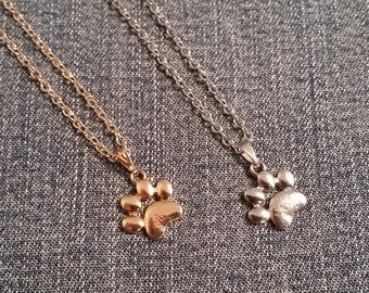 Paw Print Necklace, Silver or Gold