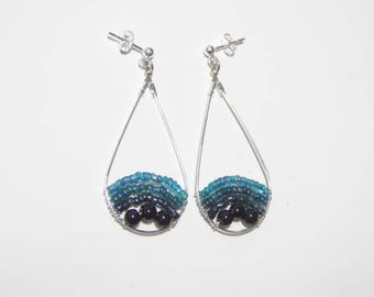 Blue and black silver-plated tear shaped earrings