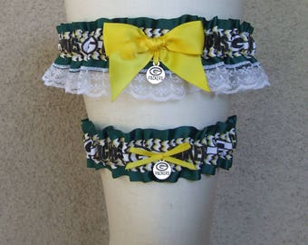 Packers Garter Set in Dark Green Yellow White with Green Bay Team Logo Charms / Football Spirit Wear Bridal Wedding Prom