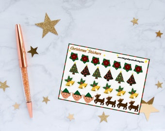 Christmas Planner Stickers, Christmas Tree Stickers, Rudolph Stickers, Christmas Bell Stickers, Vinyl Stickers