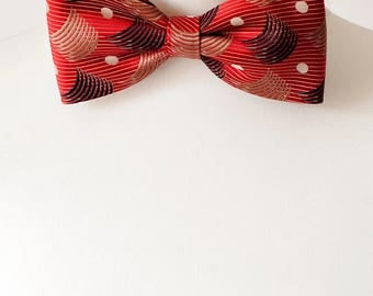Abstract Pattern Red Colour Bow Tie, Bow Ties, Mens Bowties, Wedding bow tie, bow tie for men, Valentines Day Gift, mens tie