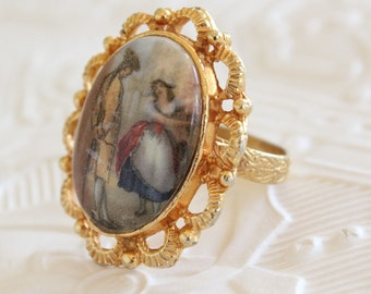 Vintage Georgian Couple Transfer Ring in Gold Tone Filigree Frame Adjustable Statement Ring