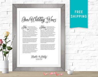 Wedding vow art etsy customized wedding vows print his hers wedding vow art gift personalized junglespirit Images