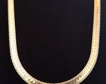C016 Sterling Silver Gold Plated Patterned Necklace