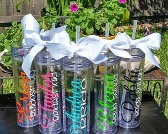 Custom tumbler, personalized tumbler, wedding gift, bachelorette party, bridesmaid tumbler, wedding favor, bridal gift, Monogrammed tumbler