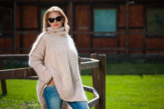 Oversized Sweater Mohair Sweater Boho Sweater Fuzzy sweater