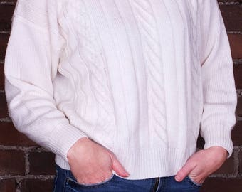 Vintage 80s Cable Knit Jumper Sweater Collar Cream Ivory Chunky Knit Knitwear