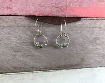 Cat Feline Sterling Silver Earrings