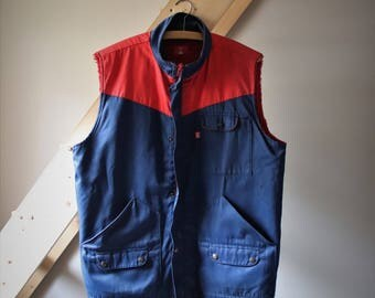 Mechanic vest Vintage Adolphe Lafont, unisex jacket without sleeve Vintage blue work jacket Made in France