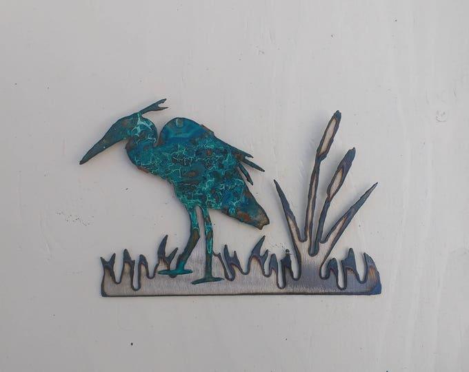 Patina Heron In the Reeds
