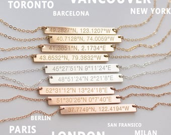 Coordinates Necklace - Personalized Coordinate Bar Necklace - Latitude Longitude - Gold filled or Silver Bar- Birthday Gift • NBH40x4