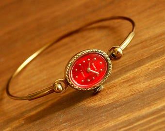 Ladies Bracelet Watch, USSR Chaika-Seagull 17 jewels 1970's - gold plated, Dress watch, Women's Wrist Watch, Gift women, Soviet watch