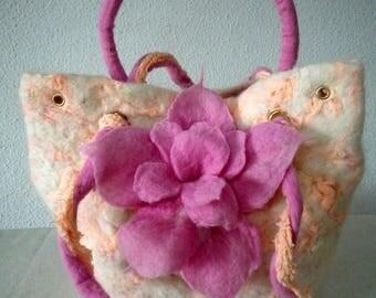 White & Pink Felted bag, Felted purse, Designer bag, Shoulder bag, Fiber Art, Felt bag