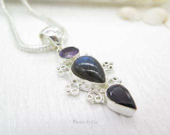 Filigree Amethyst Blue Labradorite and Garnet Sterling Silver Pendant and Chain