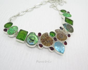 Ammonite Fossil Fresh Water Pearl Green Turquoise Sterling Silver Necklace
