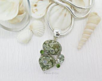 Ocean Jasper Green Amethyst Peridot Sterling Silver Pendant and Chain