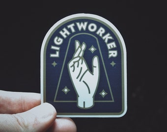 "Lightworker Sticker - 3"" Durable Vinyl Sticker - For Starseeds, Healers, Lovers, and Inspirers - Weather Resistant - Metaphysical Blue Gold"