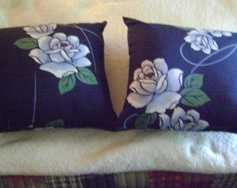 Kimono Repurposed Indigo Cotton Floral Pillows/Set of Two for Interior Decor