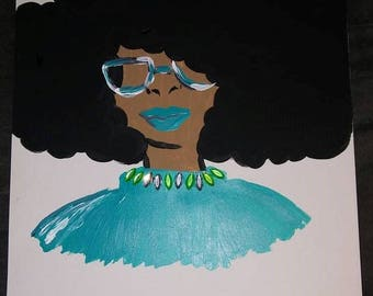 Teal is The New Black Afro Painting