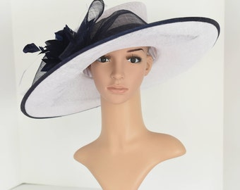 """Newest Kentucky Derby, Church, Wedding, Tea Party 3 Layers 5.5~6.25"""" Wide Brim with 100% feather Flower & Big Bow Sinamay Hat ( White/Navy )"""