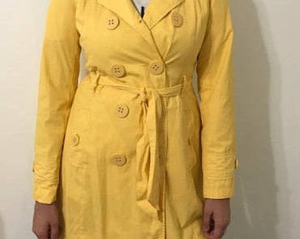 Vintage Yellow Trench  Rain Coat Women's Trench Jacket  Size Small