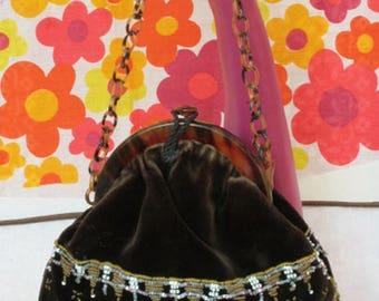 1920's Velvet Beaded Tortoiseshell Bag Handbag