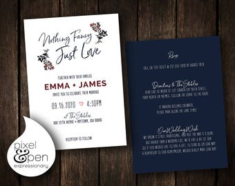 "Nothing Fancy Wedding Invite - 5x7"" - Digital File Only!!"