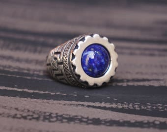 "Silver Mens Lapis Lazuli Ring ""Skyway""-Sterling Silver 925 Ring-Lapis Lazuli ring-Blue Stone Ring-Mens Ring-Mens Silver Ring-Unique Gift"