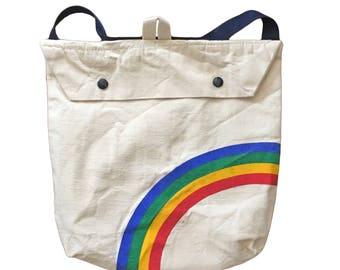 Vintage Rainbow Graphic Flap-Top Backpack