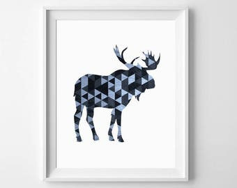 Moose Wall Art, Moose Art Print, Moose Wall Decor, Woodland Animal Art, Moose Printable, Woodland Wall Art, Moose Nursery Art, Moose Print
