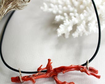Australian Red Coral Pendant, necklace