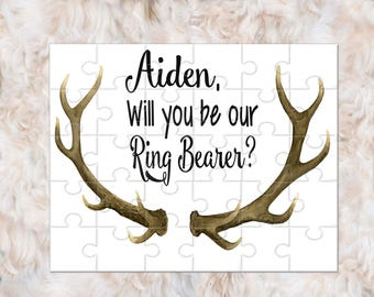 Ring Bearer Proposal Gift, Ringer Bearer Puzzle, Will You Be My Bearer, Ringer Bearer Gift, Antlers Wedding
