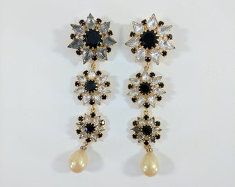 Vintage Escada Clip on Earrings//Diamante//Gold Tone//Statement//Dangle//Pearl//Gifts For Her//Jewellery//Jewelry