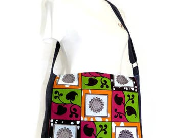 Cross Body Bag - Messenger Bag - Navy Messenger Bag - African Print Messenger Bag - Laptop Bag - Premier Fabric & African Print Bag